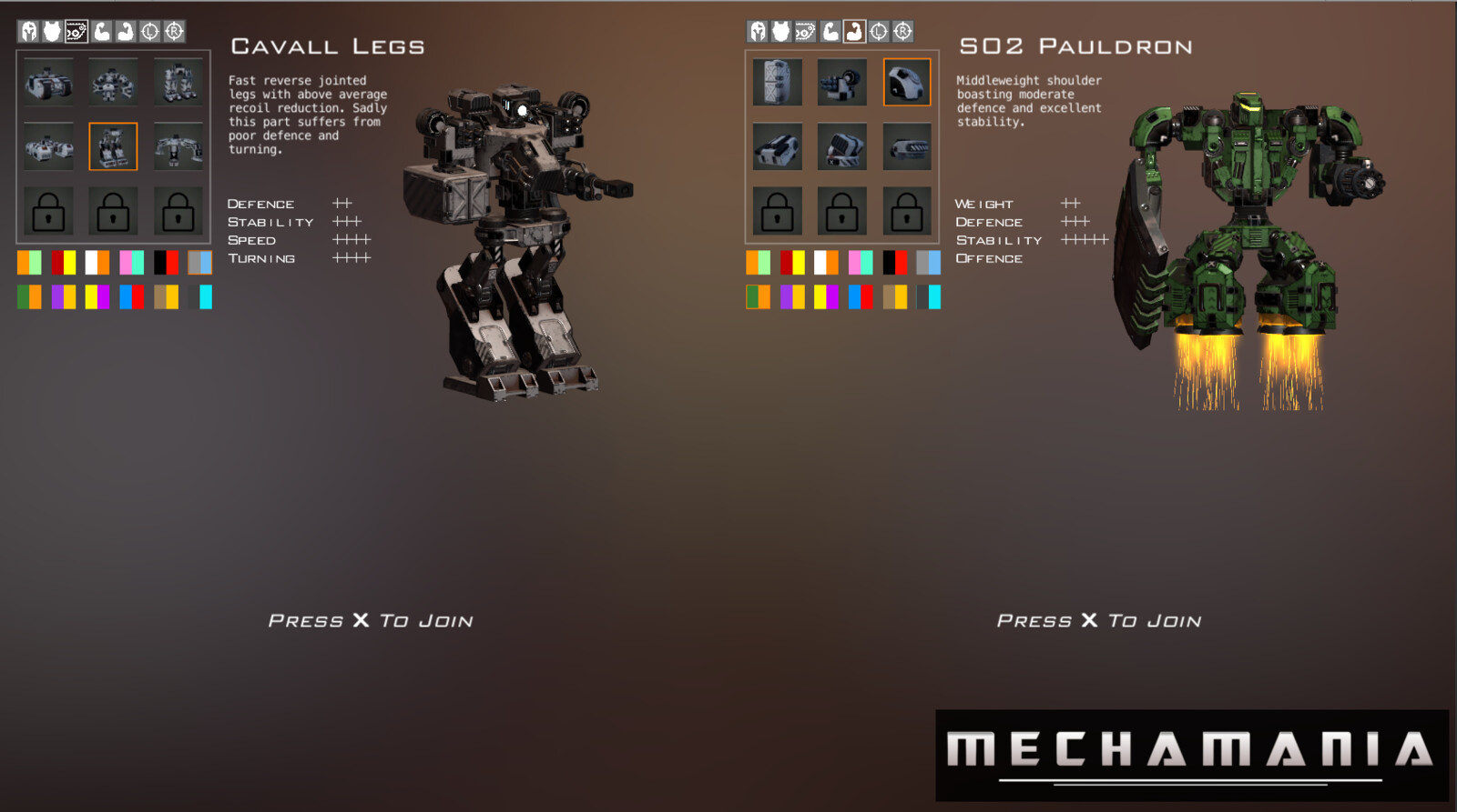 A WIP of the mech creation screen.