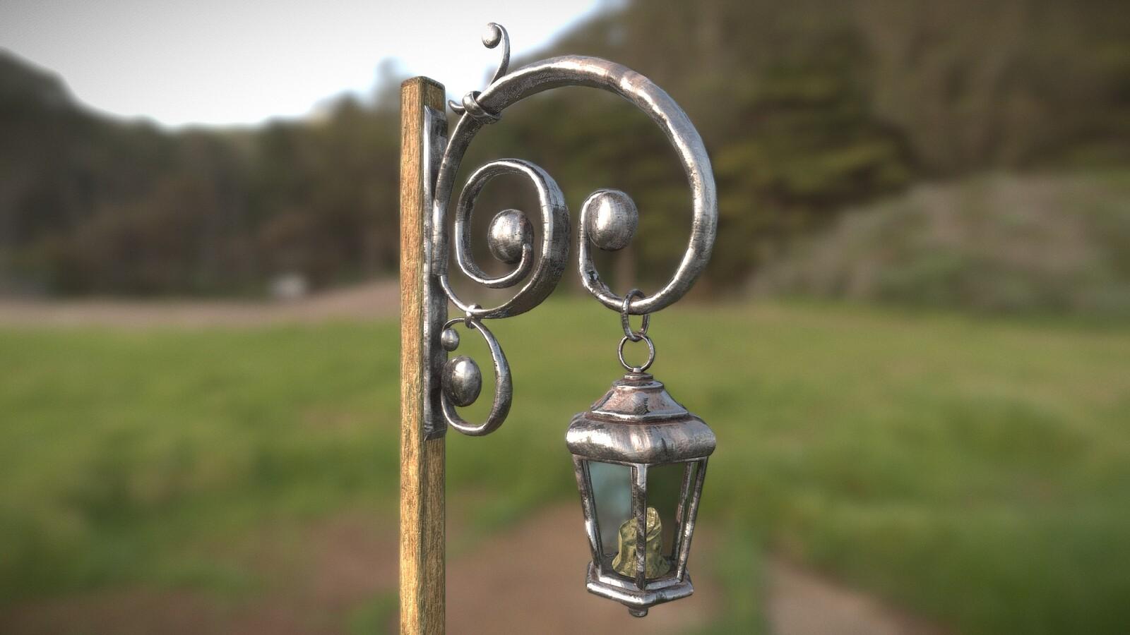 Stylized medieval street lantern