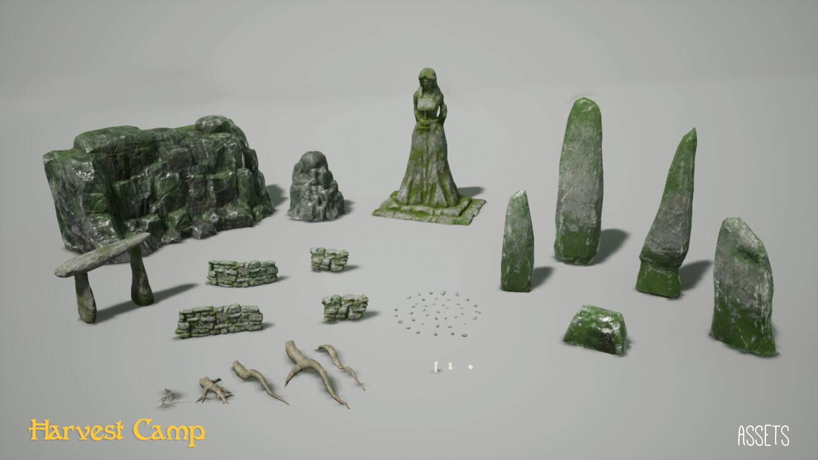 Display of assets that I modelled.