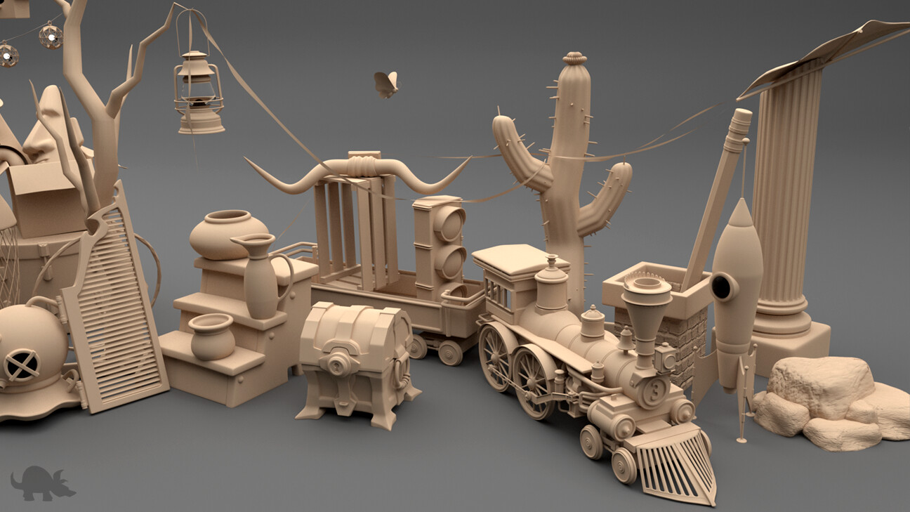 Some of the many hard-surface props built for the scene