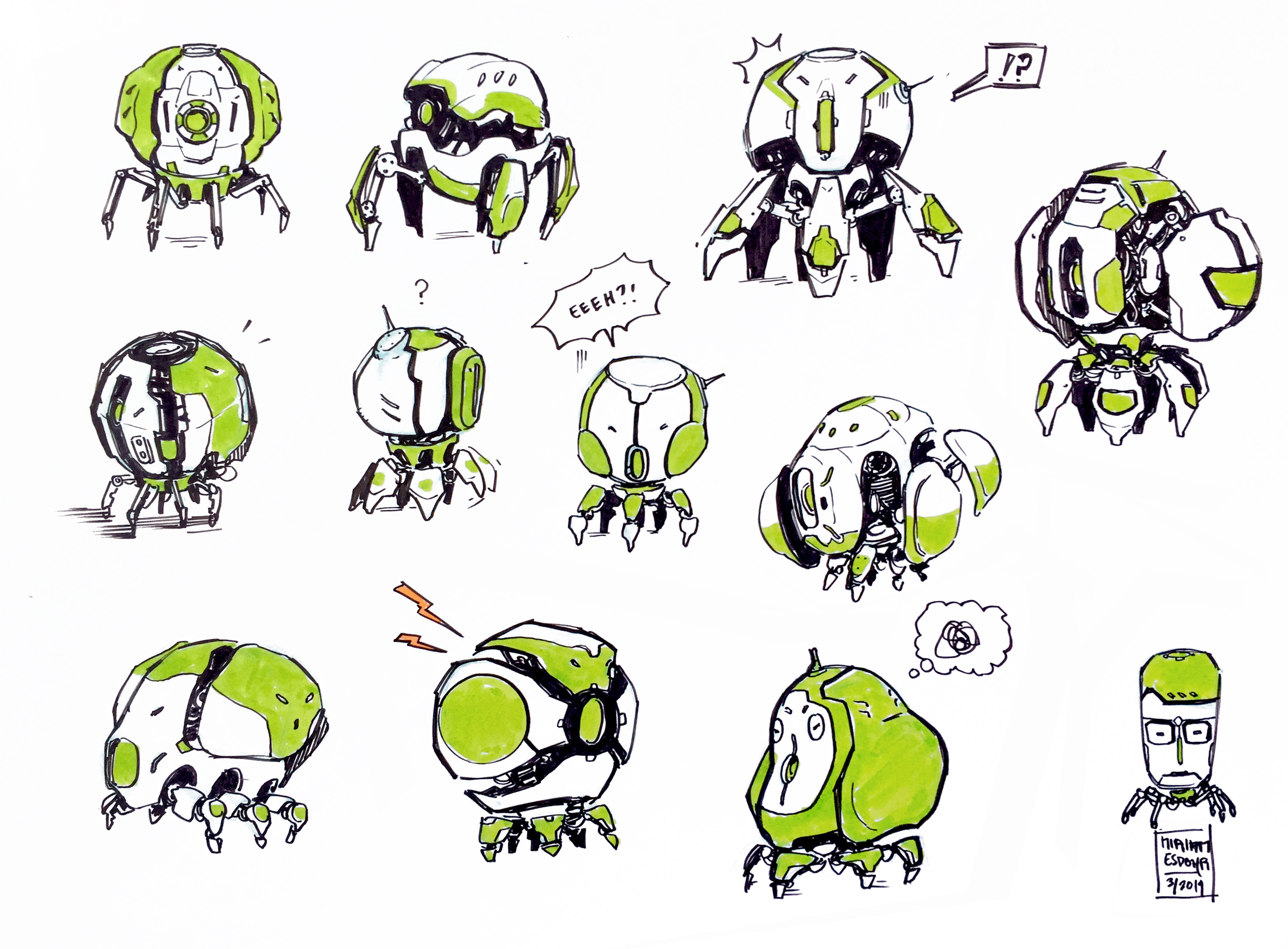 "Some concept sketches. I limited myself, it had to have a sphere like shape and be able to ""unfold"" while in float mode"
