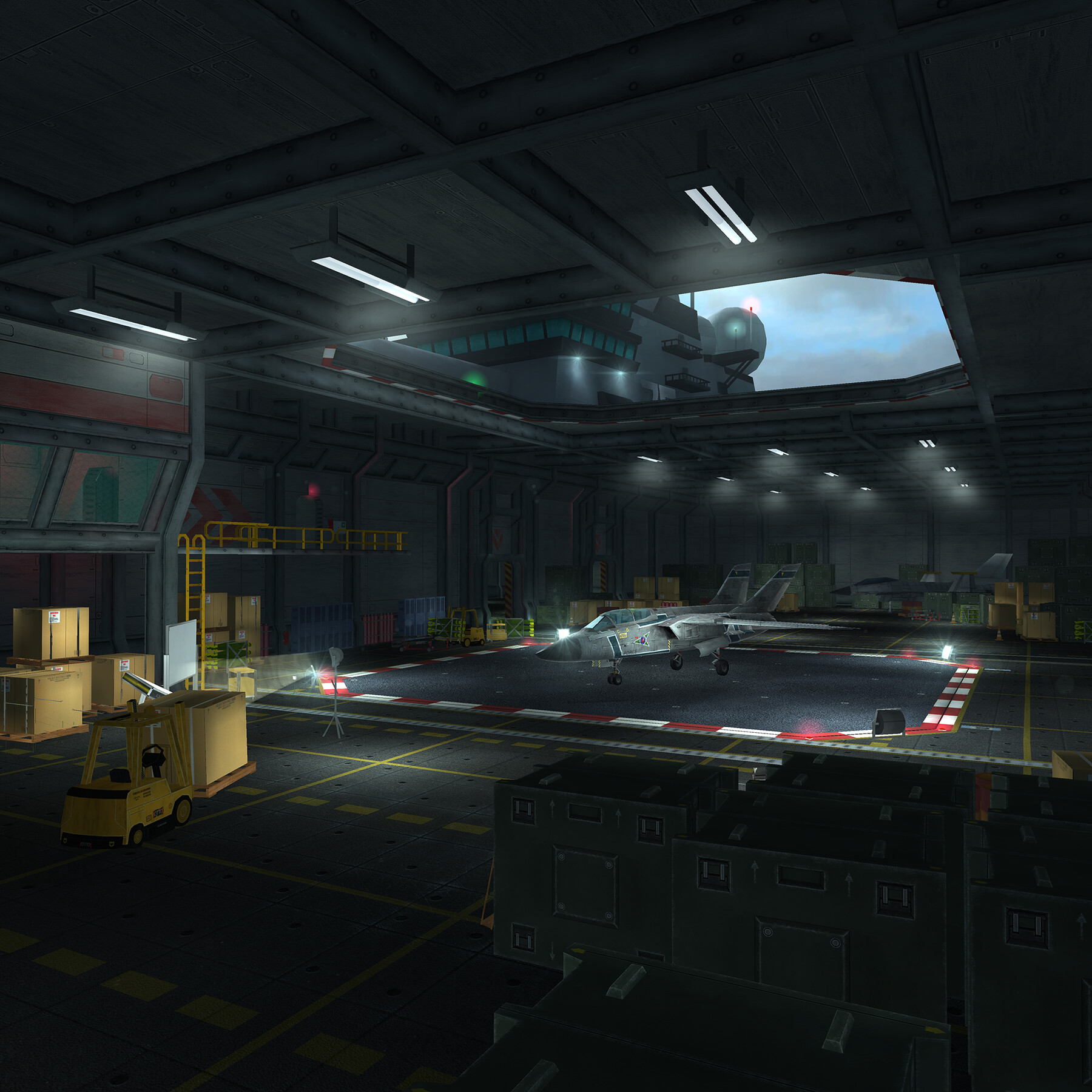 Aircraft Carrier plane selection. The elevator was used to load and unload planes into the scene for player aircraft select. Once selected the plane would rise seamlessly to top deck for takeoff.
