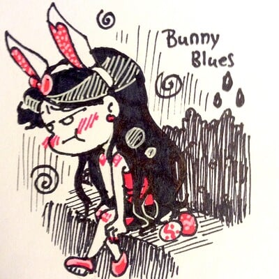 Nasika sakura day 82 april 15 daily doodle 26 bunny blues photo