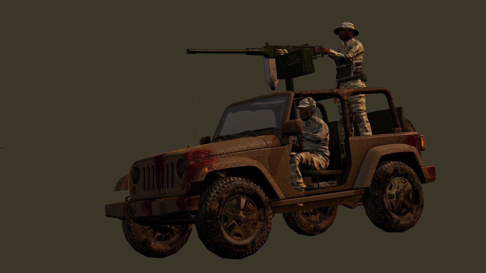 Jeep textured with substance, model courtesy of my pal Chris Plush, of CGMasters.net and soldiers (in need of weight painting) from Fuse.  .50 cal for free on internet, also textures in Painter.