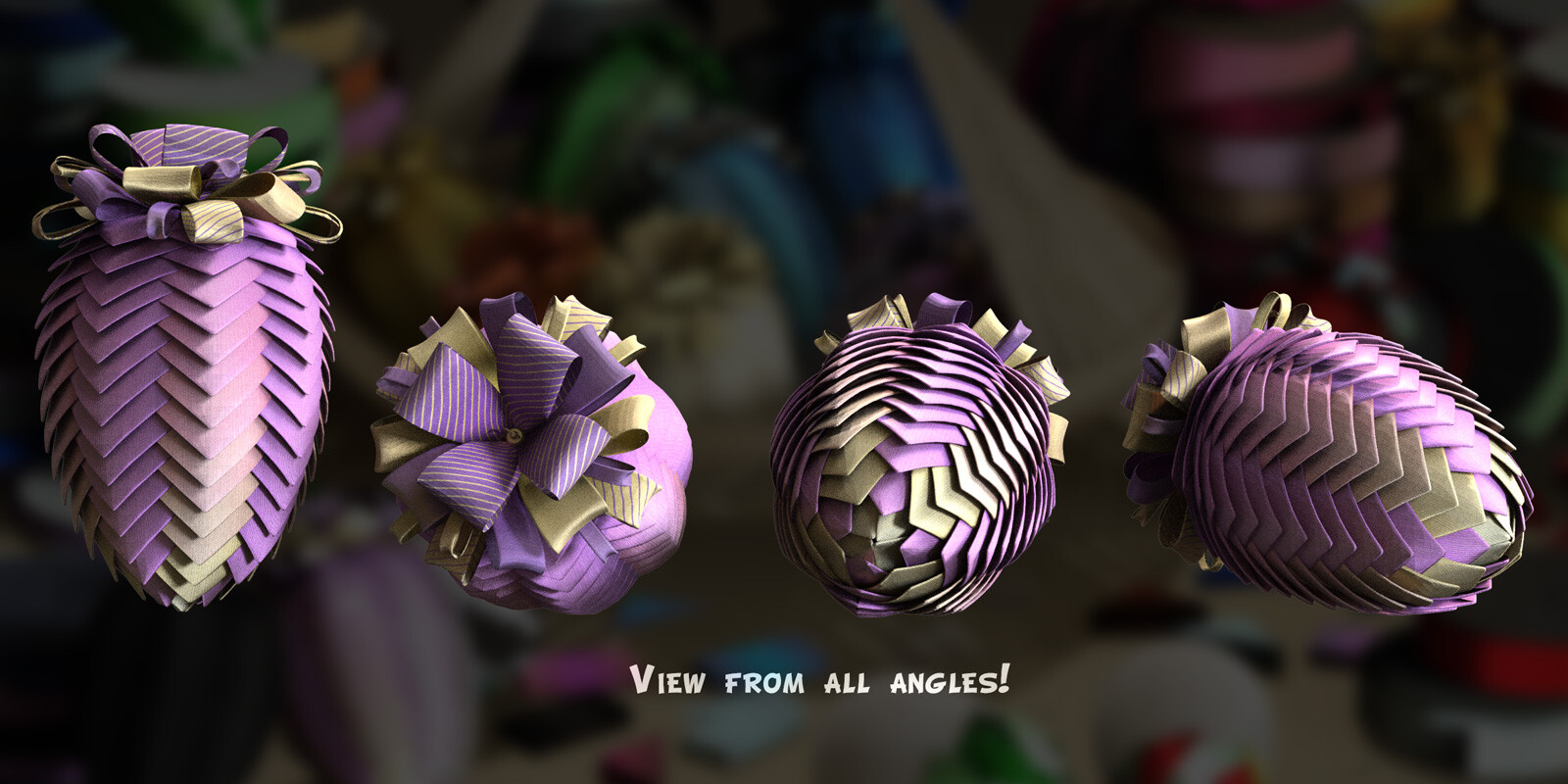 This image shows the folded ribbon from many angles.