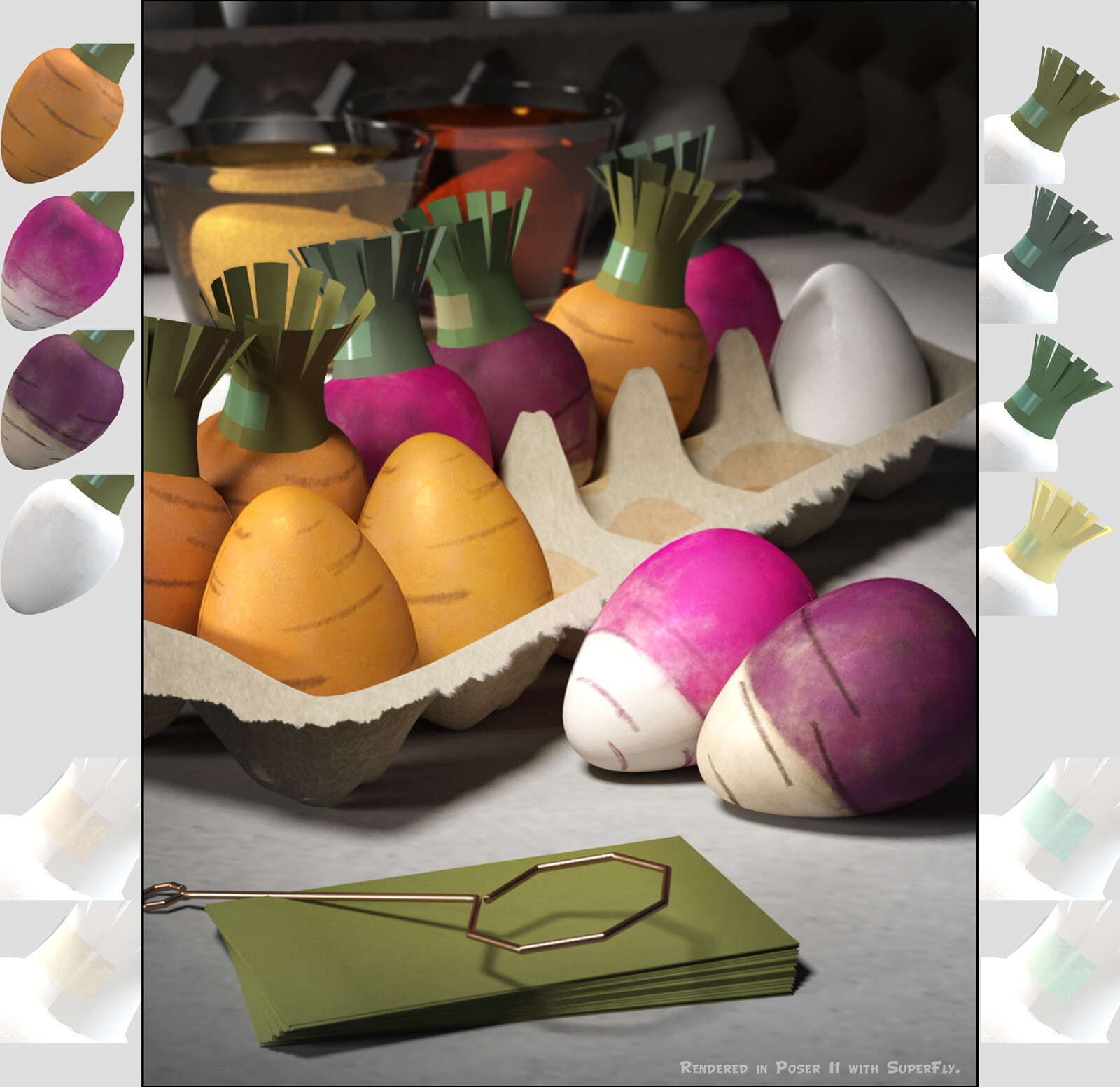 This shows the color and texture options for the decorated eggs themselves, as rendered in the SuperFly/Cycles render engine in Poser.