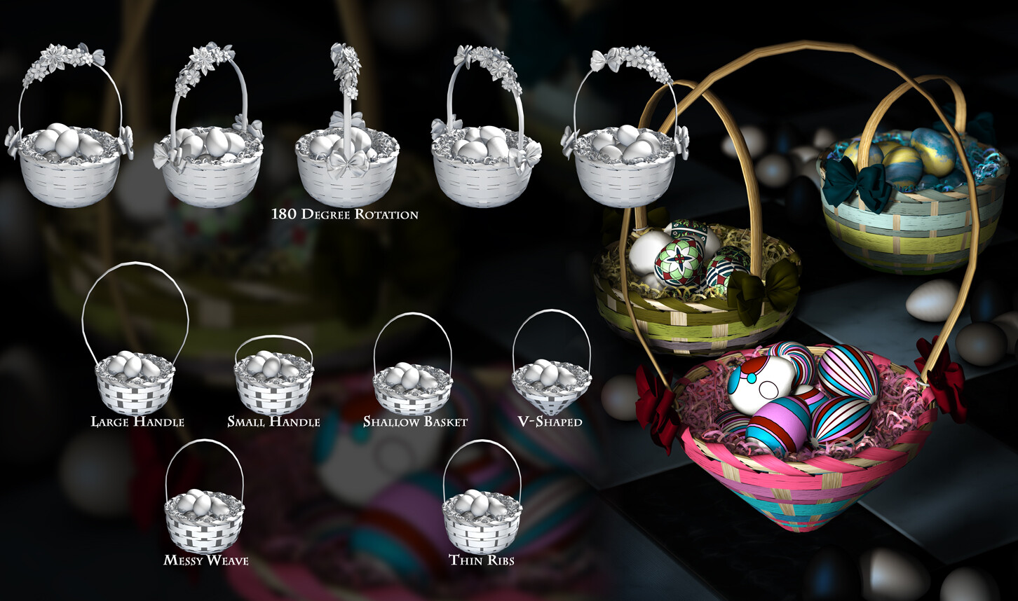 Here are the morph/shape options for the baskets.
