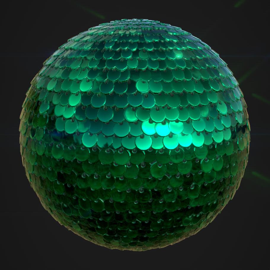 Concave Green Circular Sequins