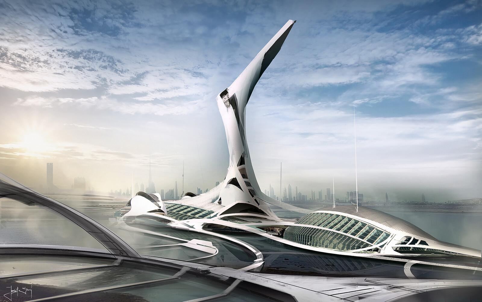 Futuristic architecture sketch / concept