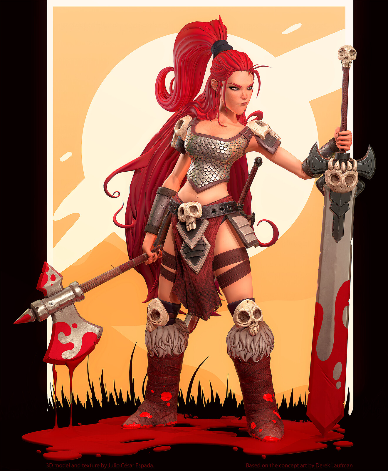 Red Sonja :: 3d model and texture by Julio César Espada. Based on the concept art by Derek Laufman