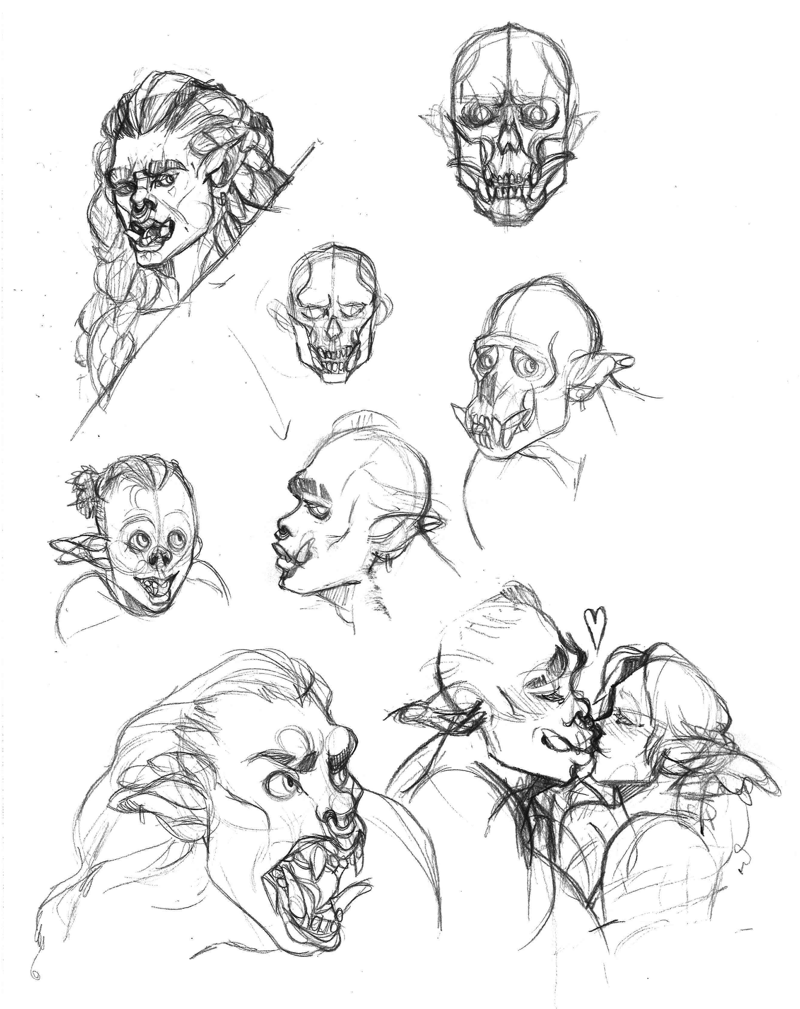 sketchpage showing how I figured out some orc facial anatomy. Looking at gorilla skulls helped a great deal in figuring out a humanoid face with all those big teeth!