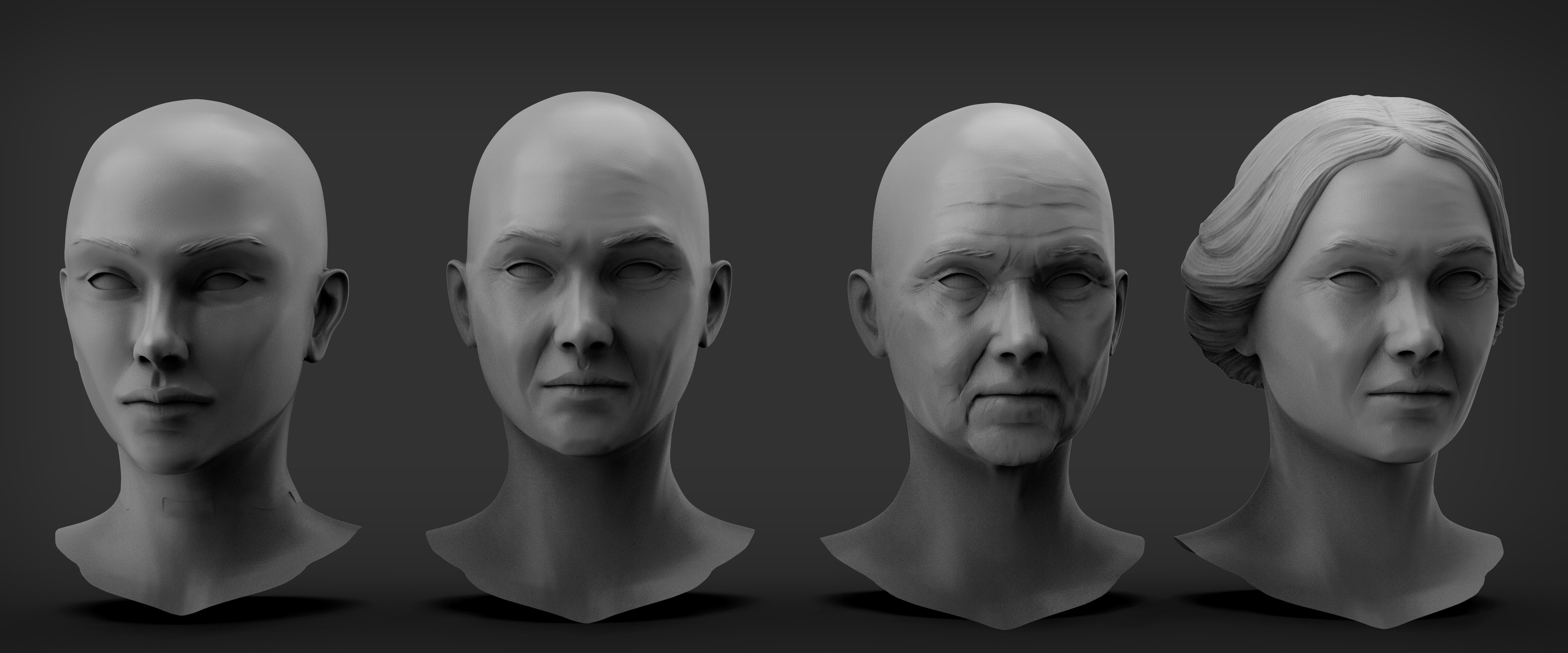 Woman skin Variations sculpt and hair example