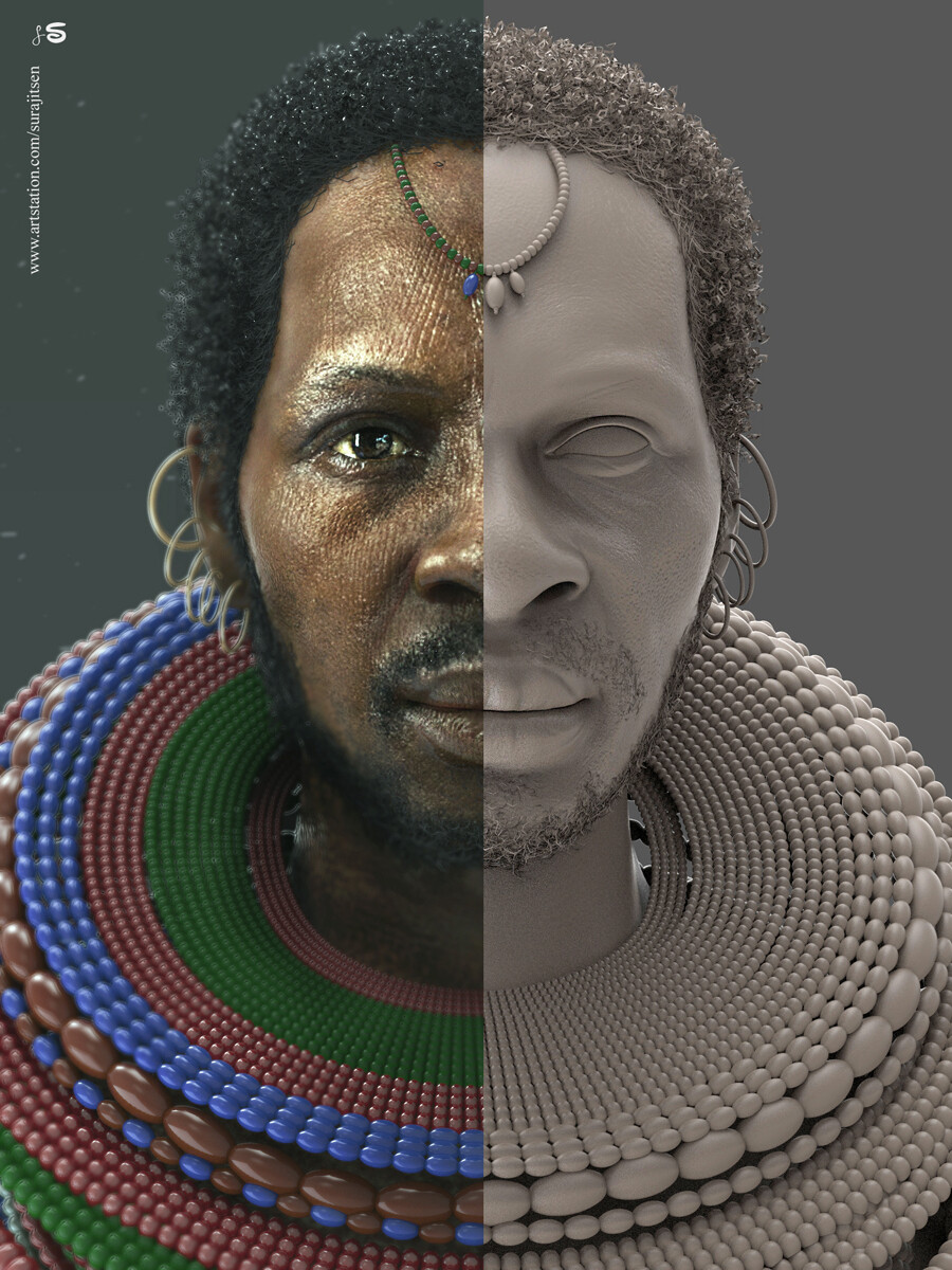 """""""Chimalsi""""....my weekend CG character!  I tried to create a African Tribal man.  Hope you like it  :)"""