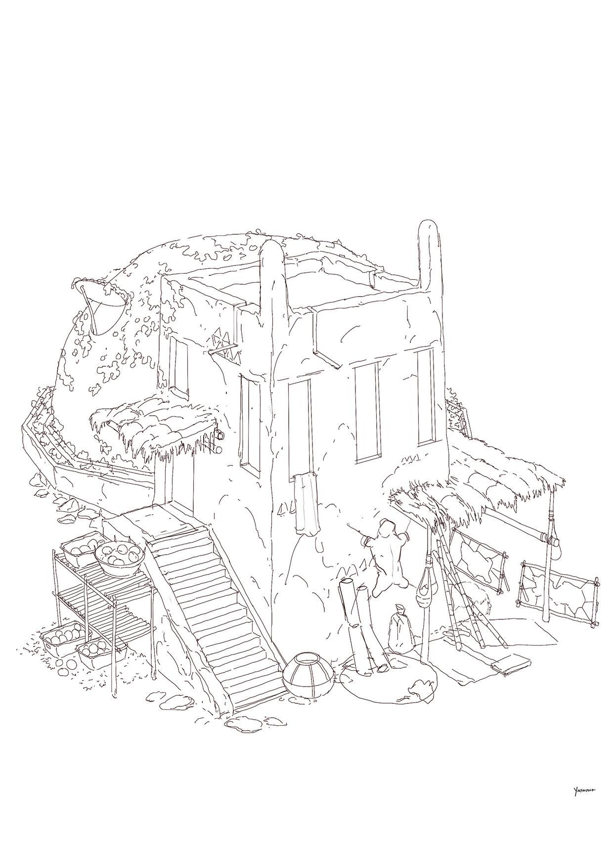 Harrison yinfaowei brocolli house fruit line art