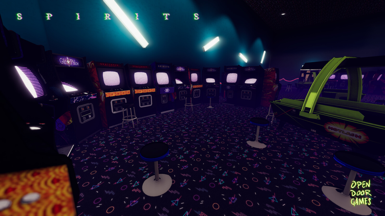 The lighting of an almost all black room can be a hurdle. I needed to add a lot of lights, and that gave me a great opportunity to add tot he chaotic and playful arcade feel.