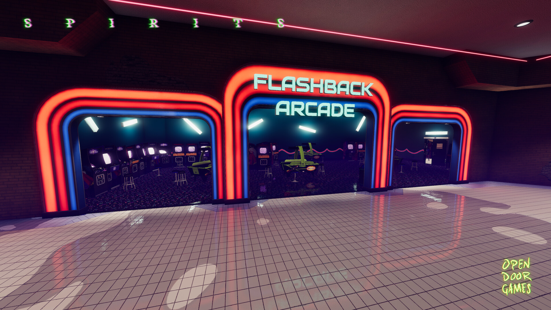 "I pulled the colours and branding for Flashback Arcade directly form some of the most influential arcades of the 70s and 80s. As a set piece the entry way was designed to say ""80s"" in every way we could."
