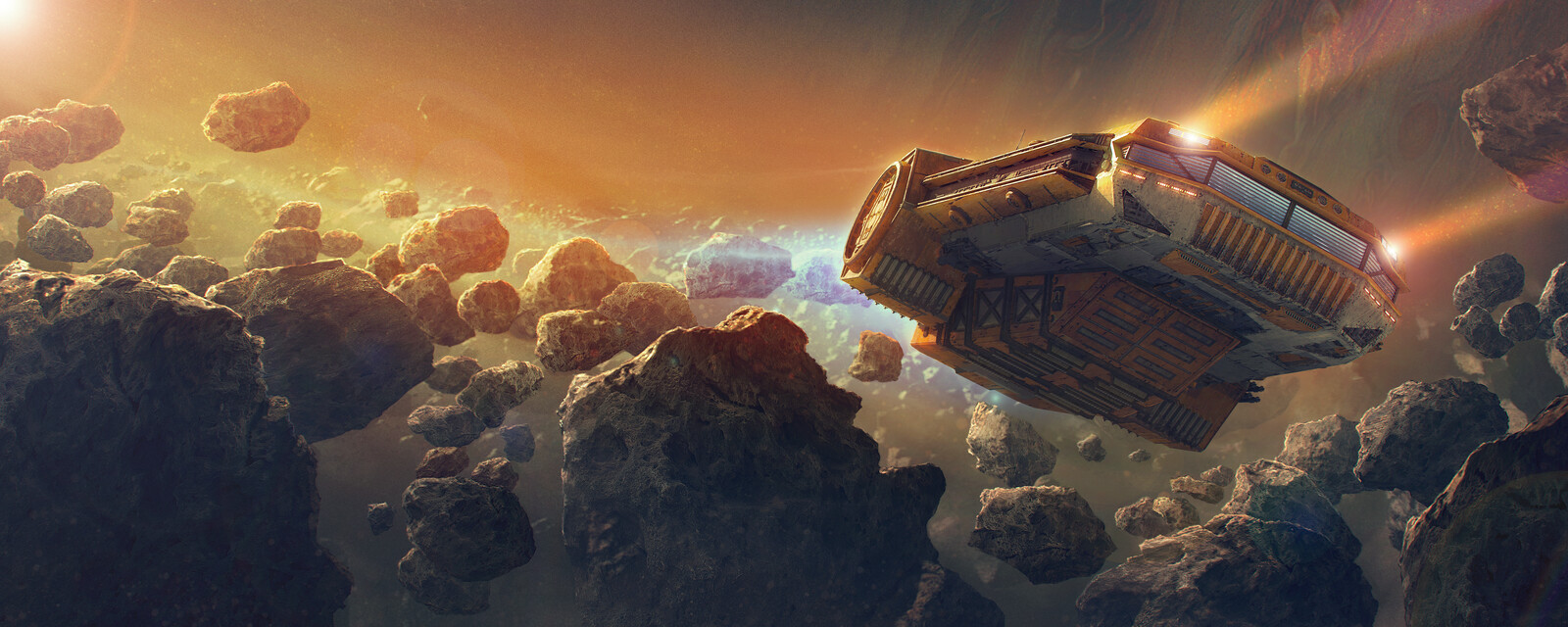 YT-XS Light Hauler Flying Through Asteroid Belt