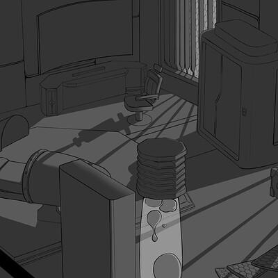concept of sci-fi bedroom