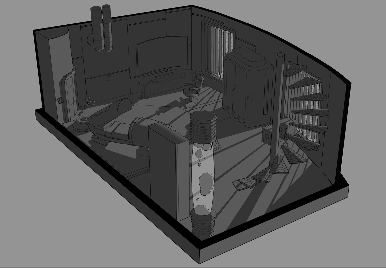 concept of sci-fi bedroom