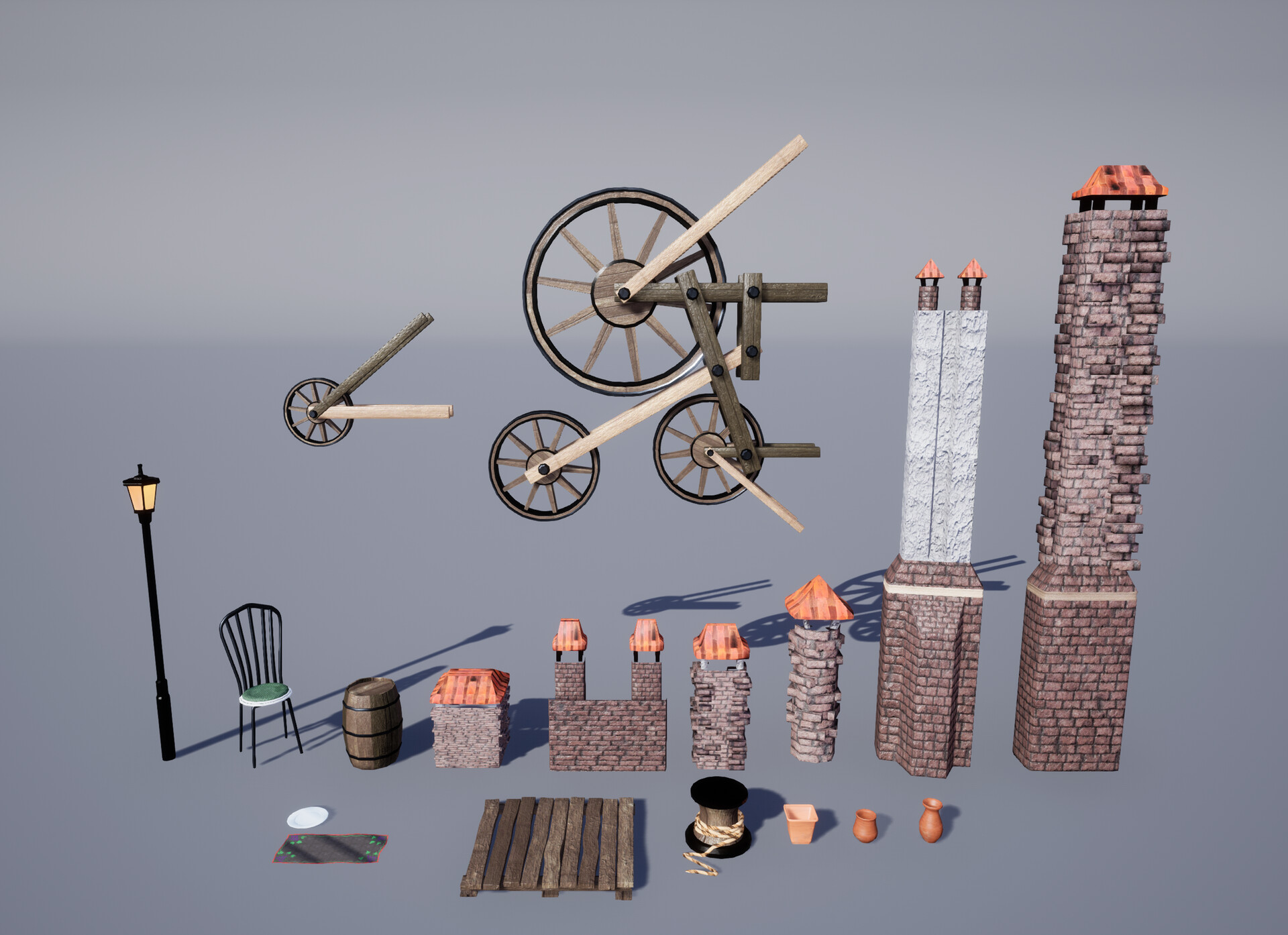 Here is most of the kit I used to break up the buildings and populate the scene.