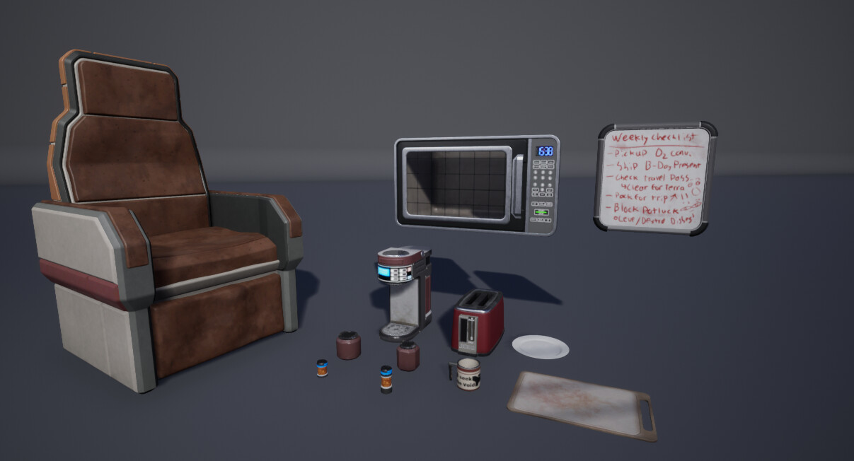 The smaller props and  elements throughout the scene.