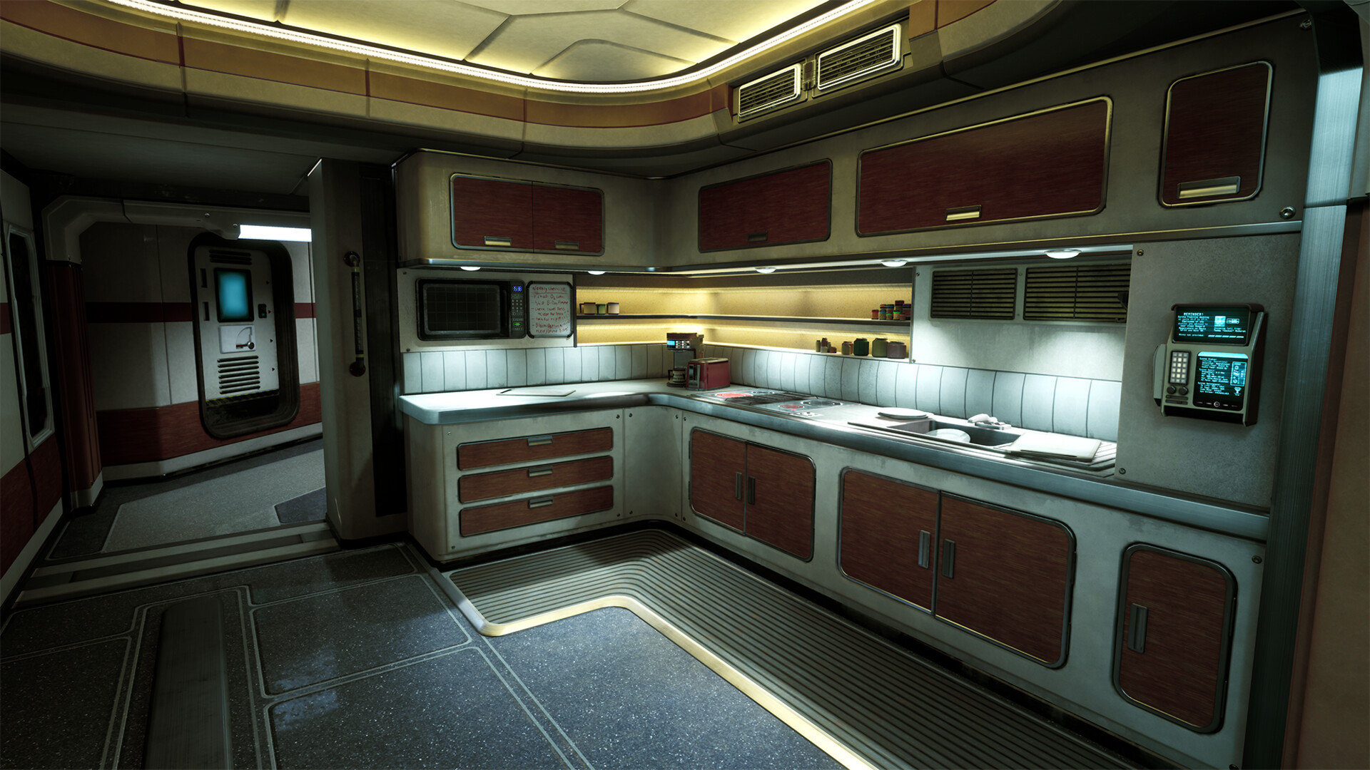 The main shot of the kitchen.