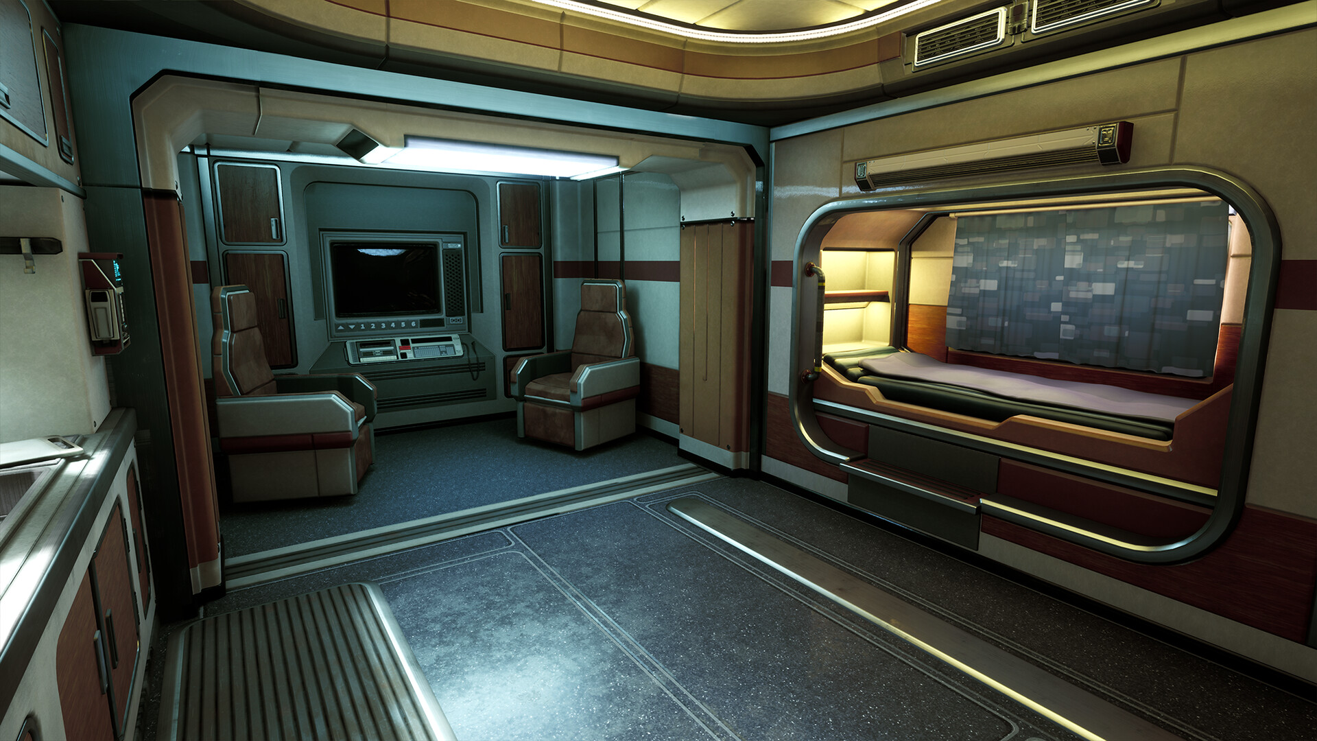 A shot of the living quarters, this view comprises the other half of the cabin's space.
