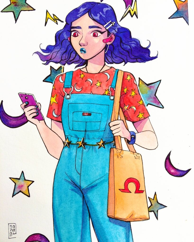 Watercolor concept. This is the second drawing I did of her.
