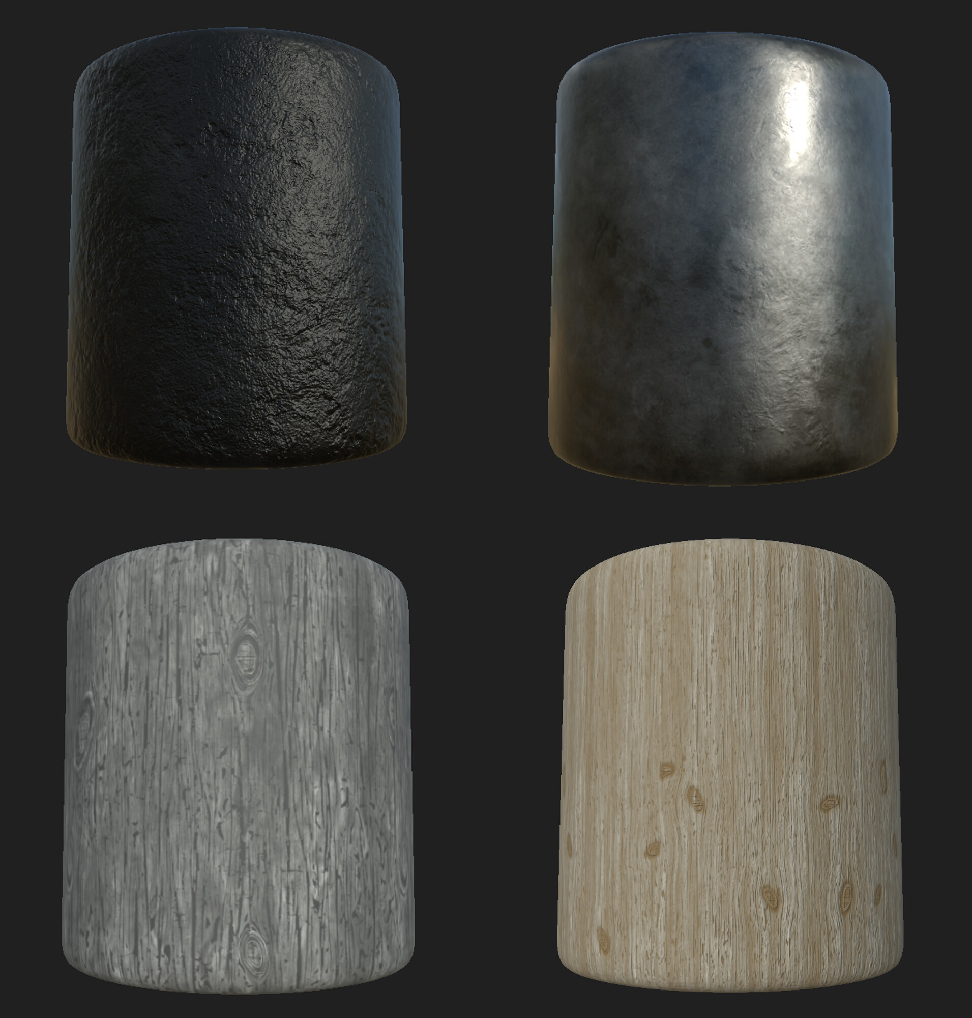 Some of the baseline materials that I used to derive all of my textures from. Made in substance designer.