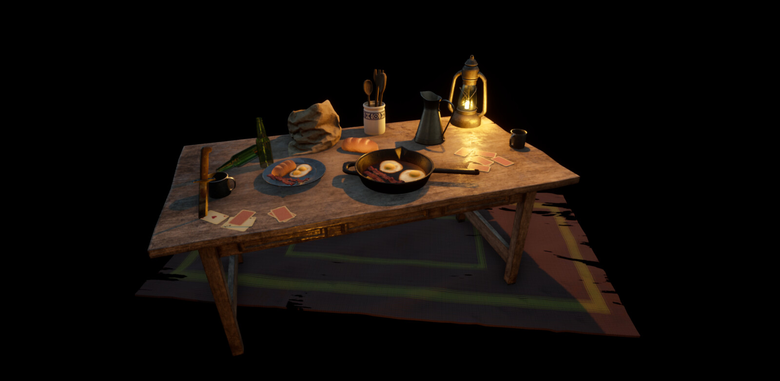 A small diorama of a prop set up from the scene. I had a lot of fun making the breakfast elements!