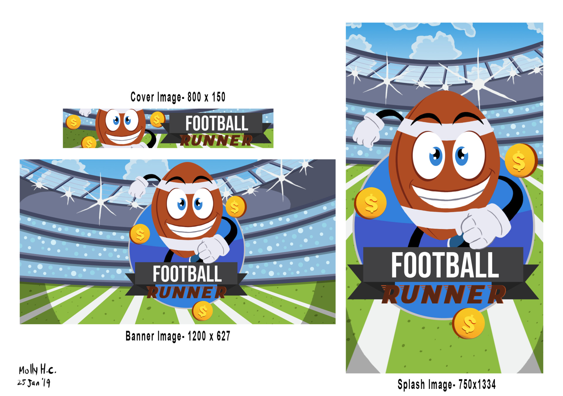 Football Runner App Promo Art Final Deliverables