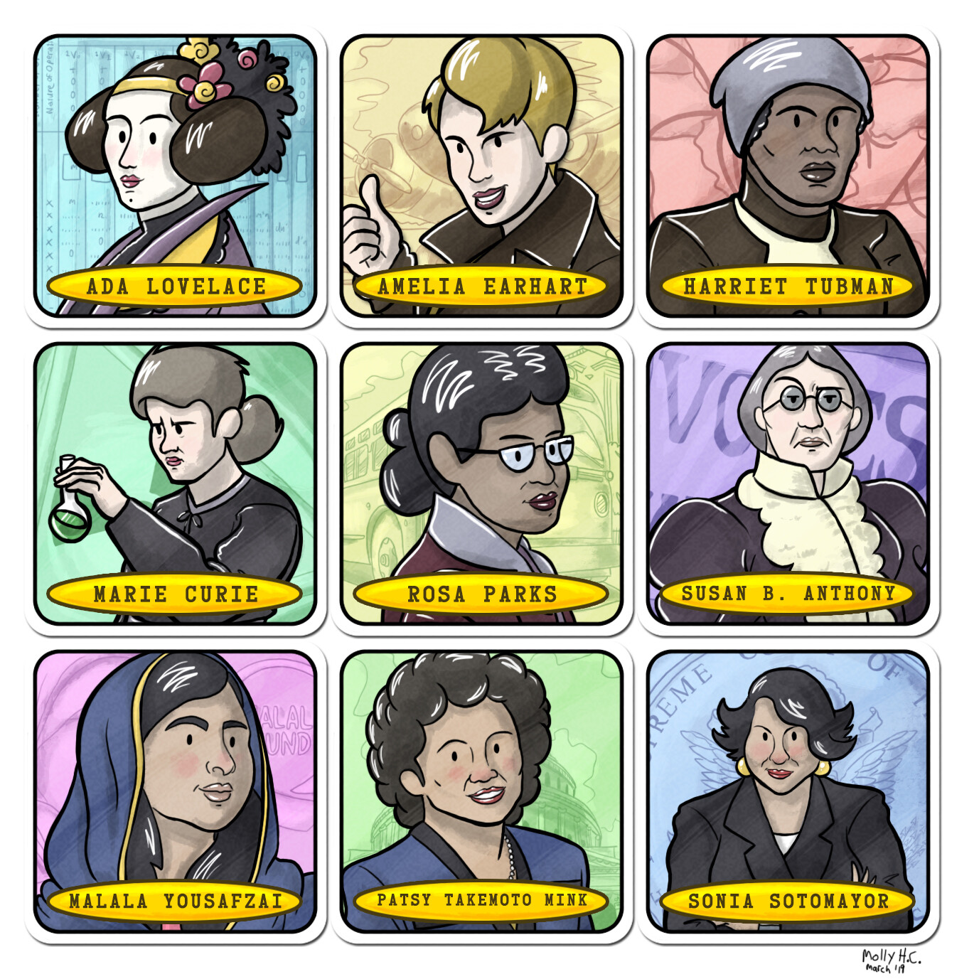 Women's History Month Matching Card Game Illustrations 