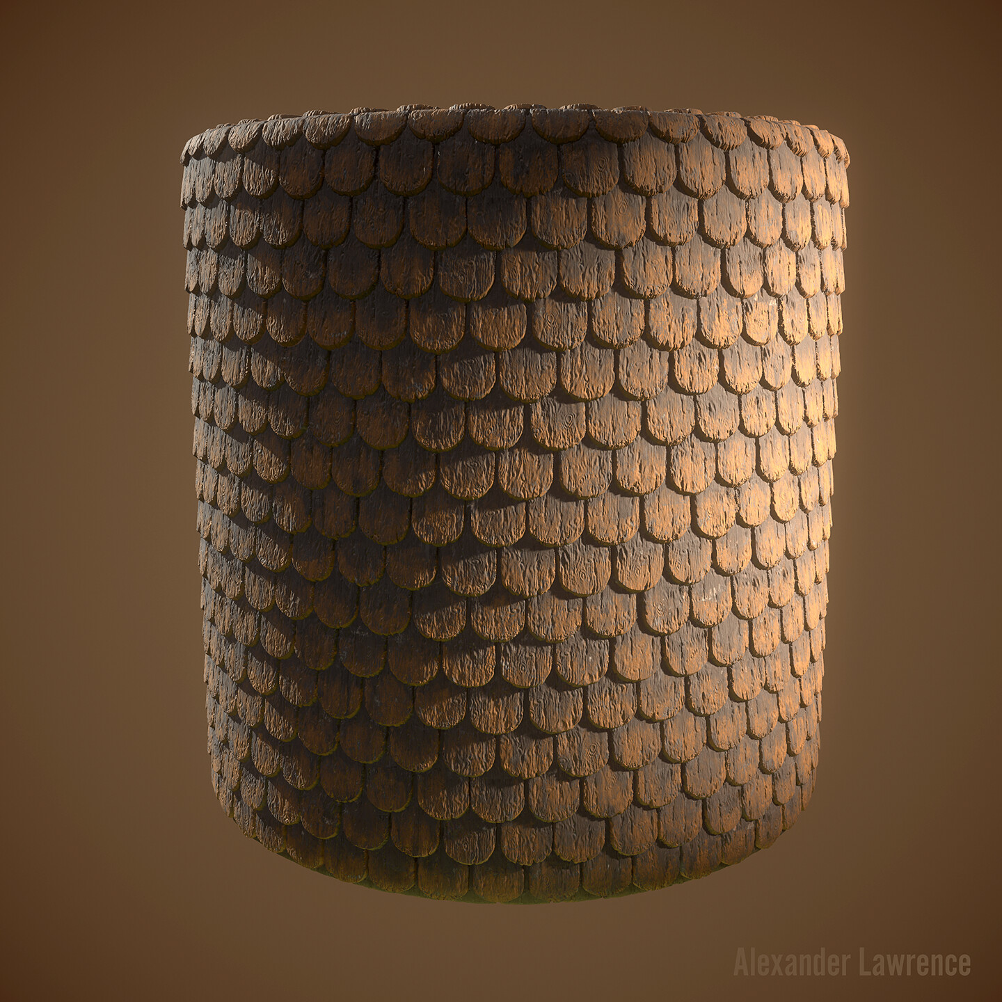 Wooden roof shingles that were painted orange. Created entirely in Substance Designer.