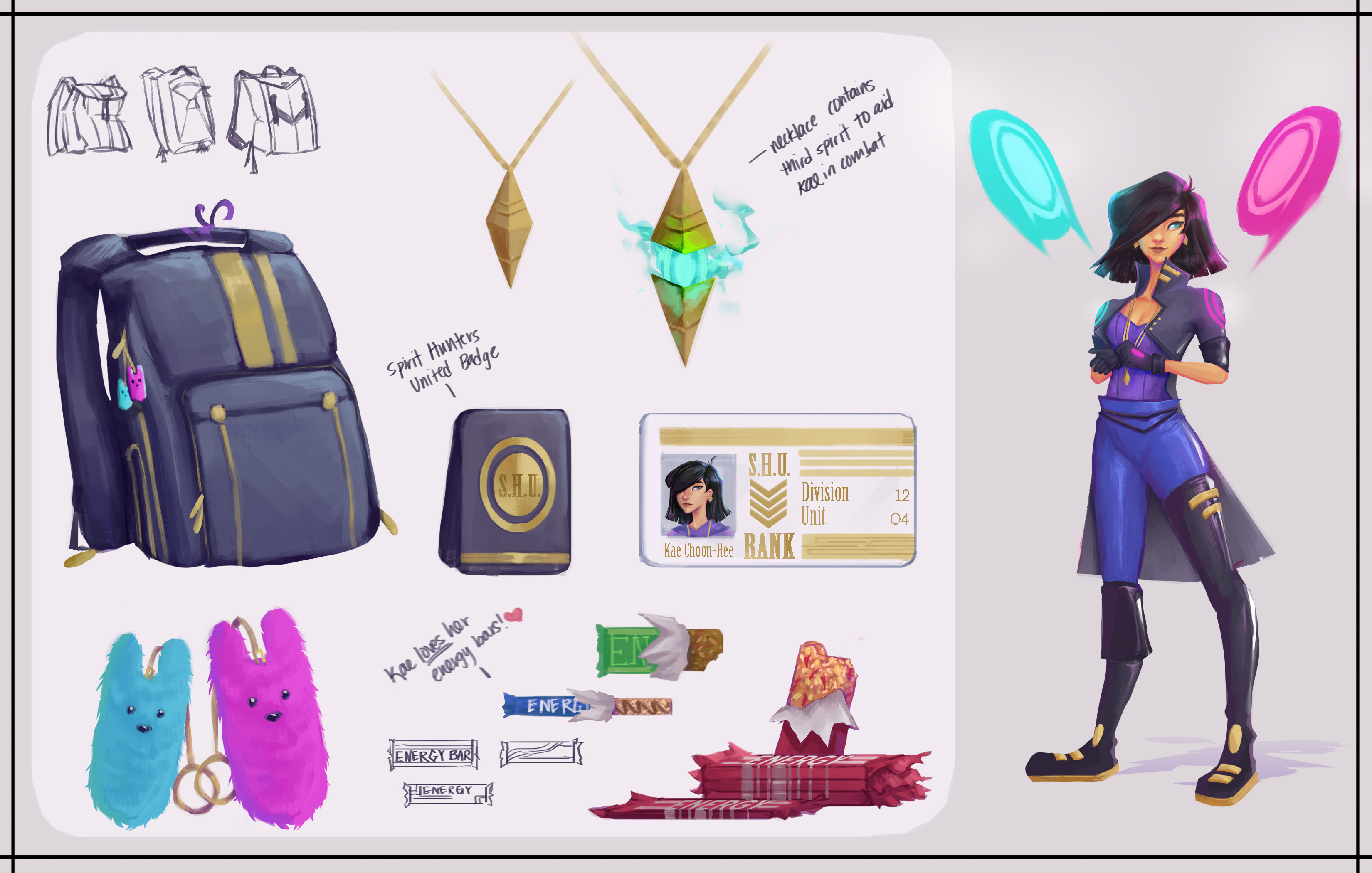 Prop sheet with some items relevant to her! (She loves her energy bars like... a LOT)