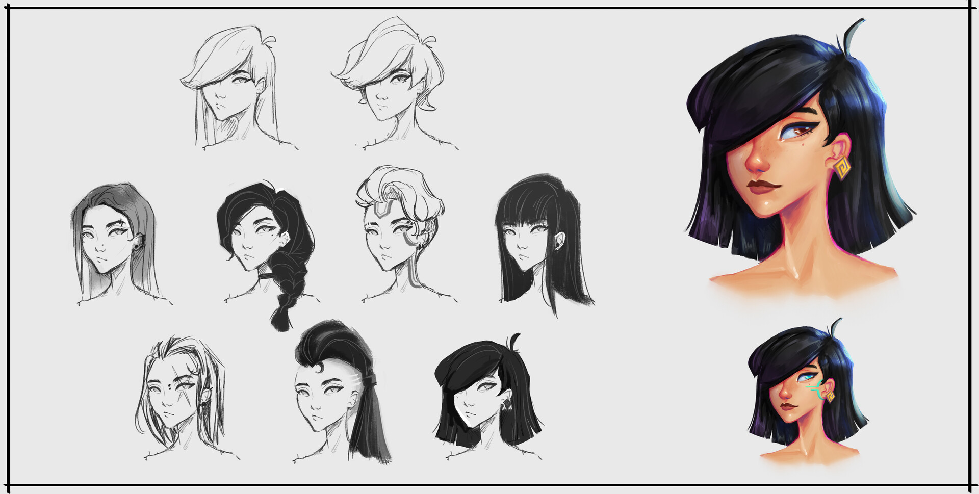 I started her design from a portrait. I knew I wanted to her be an east asian presenting fighter so I explored hair and face variations until I found one I liked! I did away with hair dye since asian characters CAN stand unique without dye!!!