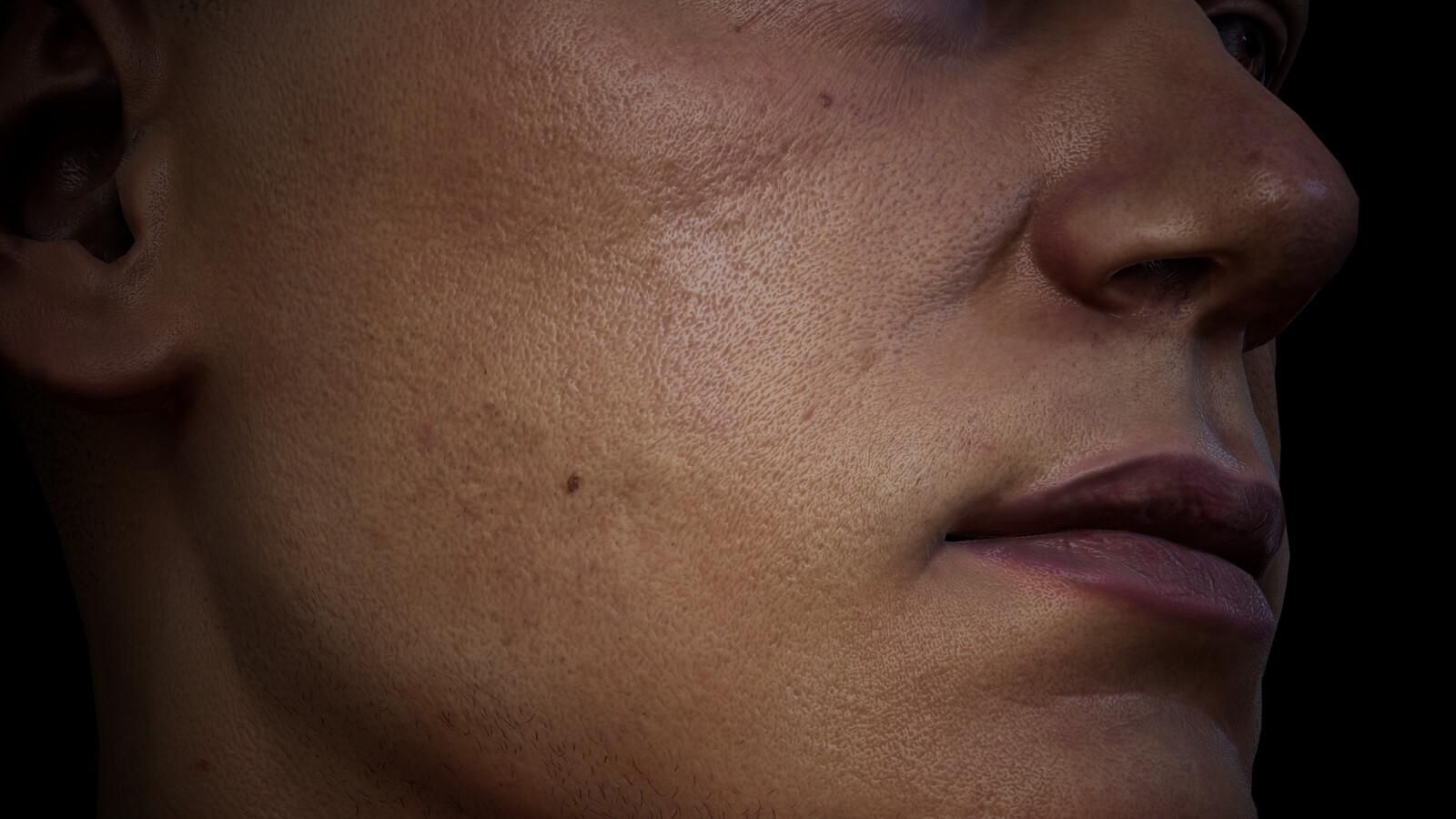 Closeup XYZ pore/wrinkle details