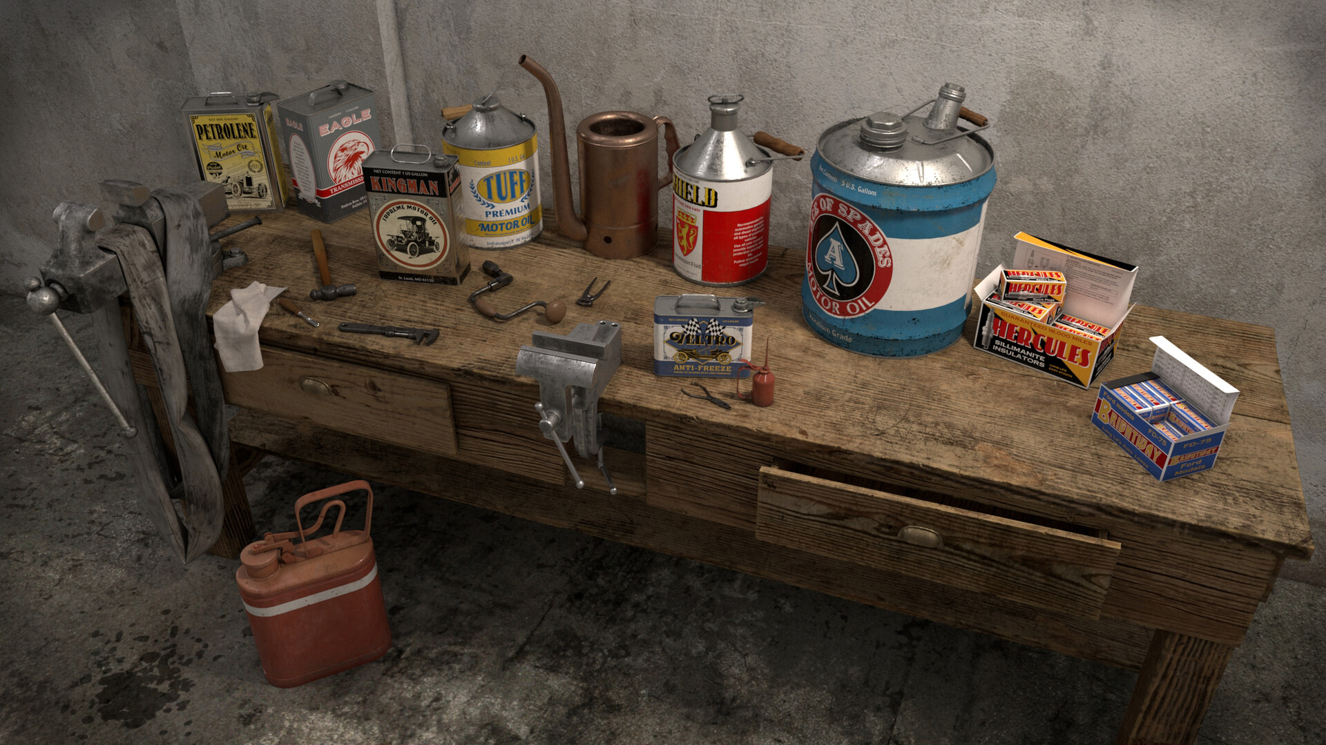 Few items modeled for the background