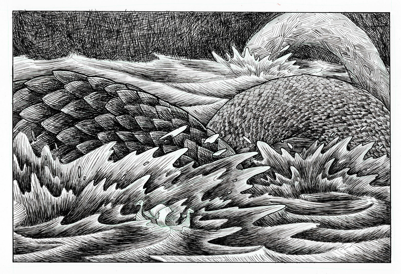 Spin off illustration #2 The serpent hits the water with a smack and Hauk's ship is swept off with the waves.