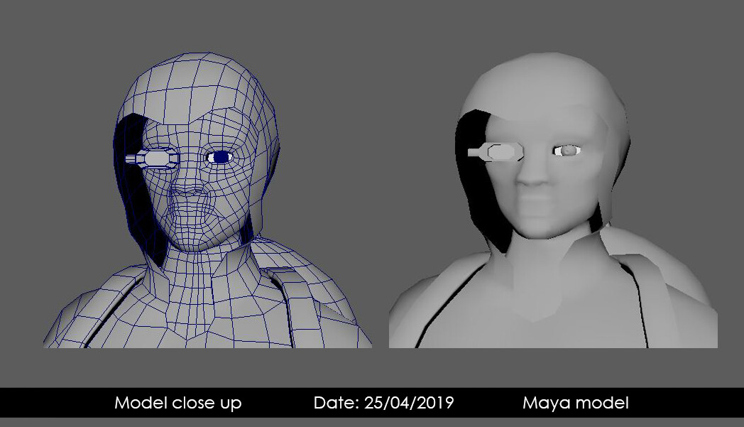 Head model low poly Maya model and wire-frame