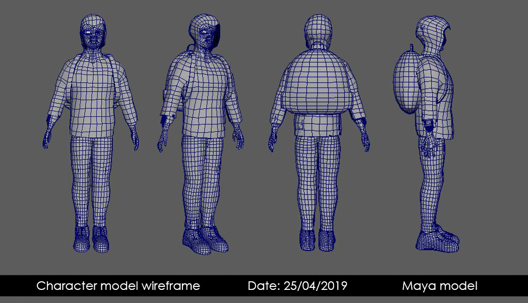Wire-frame model turnaround