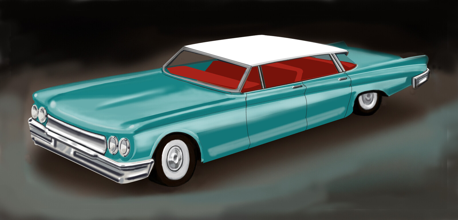 Digital drawing of a toy car.