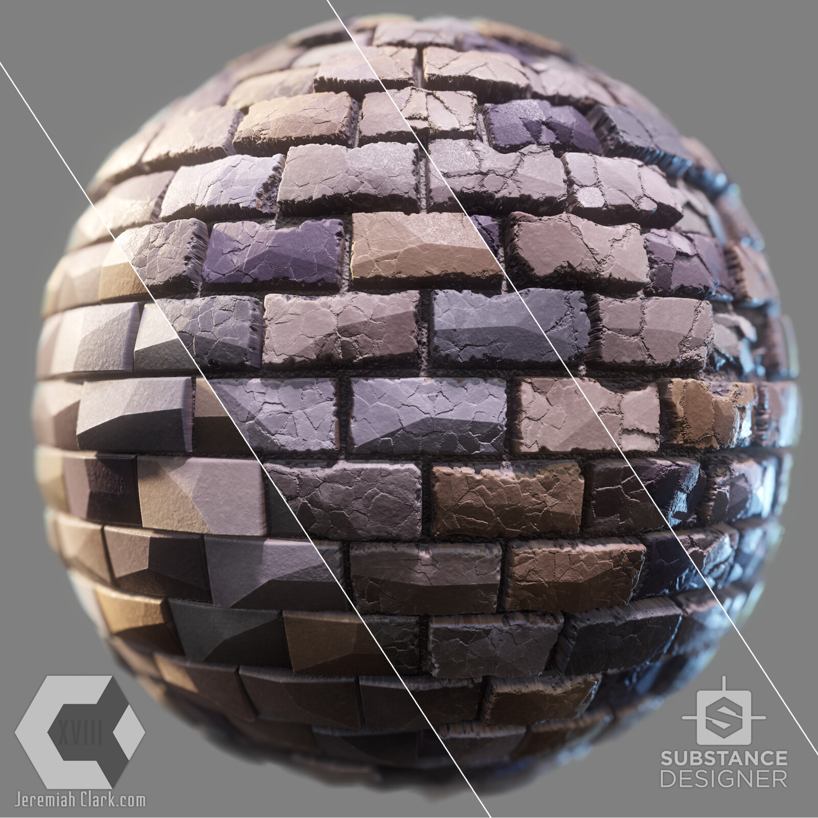 The material includes dynamic crack and wear options controlled by sliders.