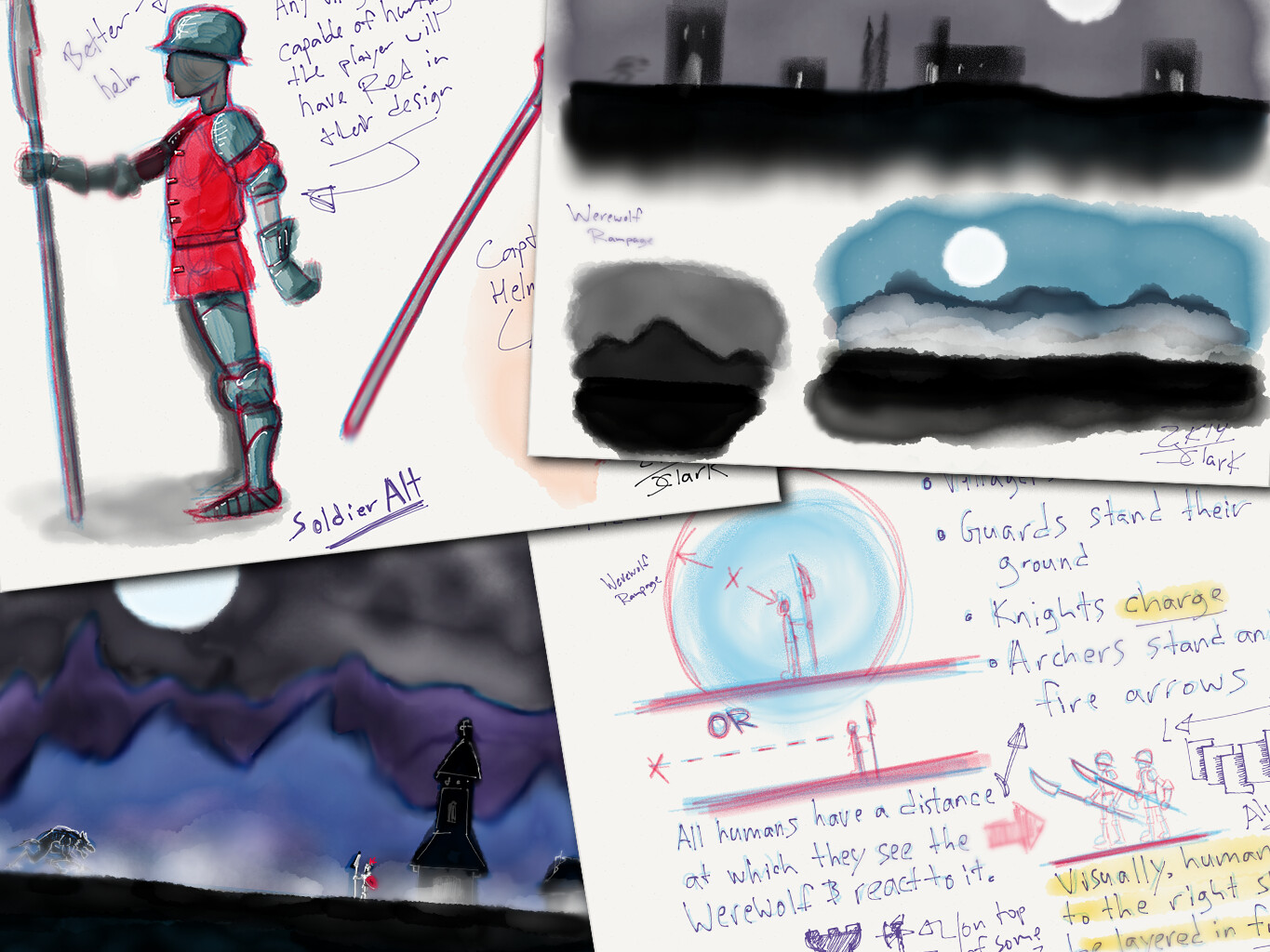 A sampling of the notes and sketches I made for this project.