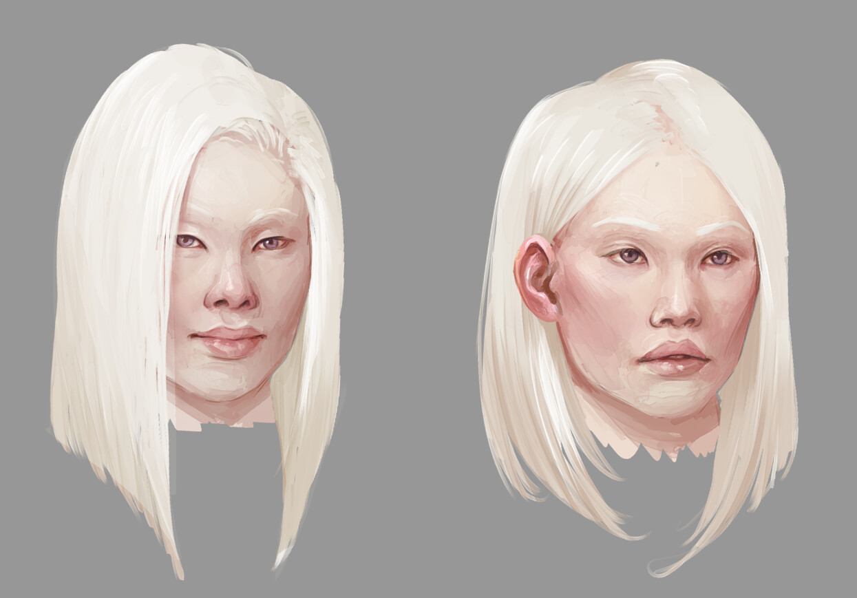 Tried different faces for exploration of her character, rendered out the top 2 picks