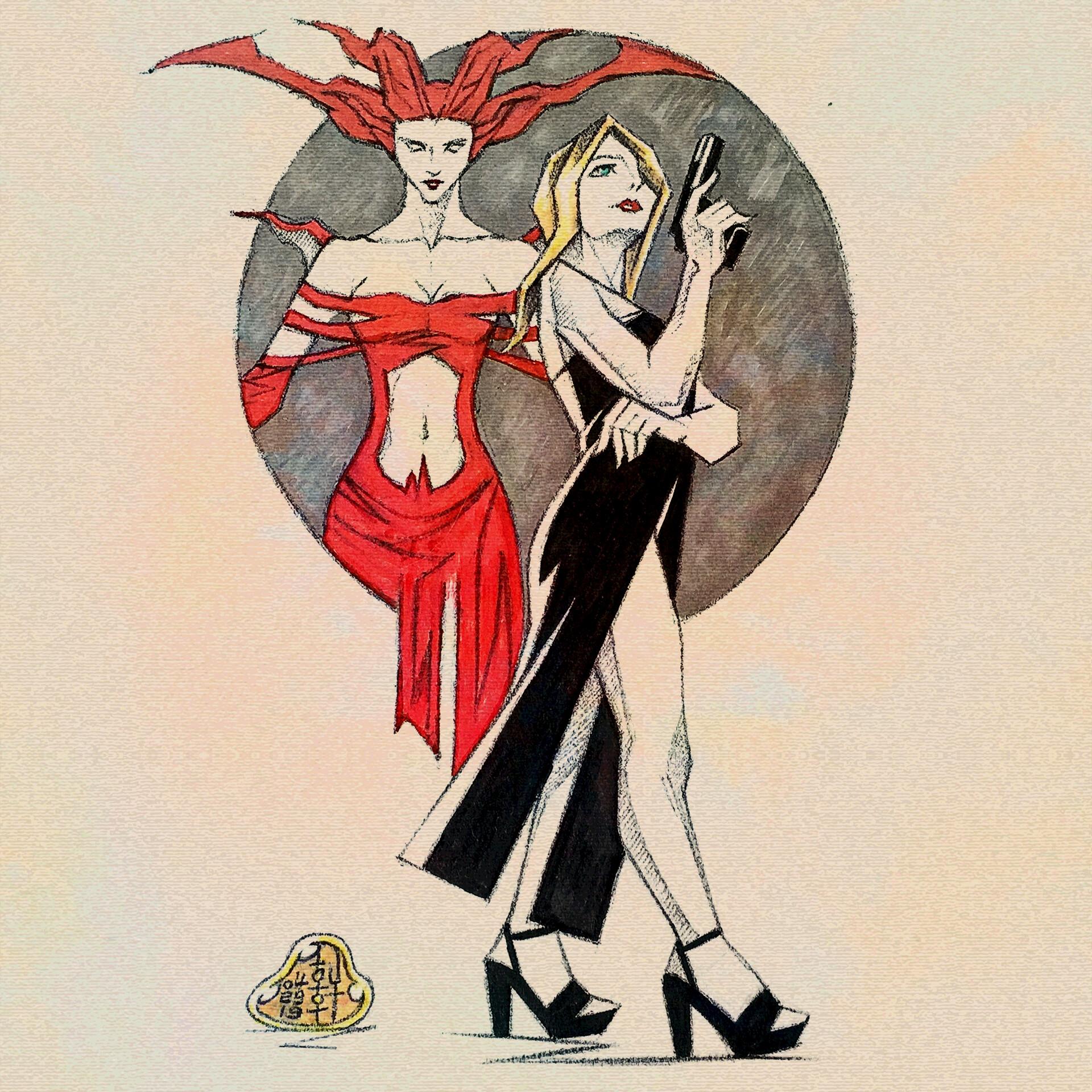 Aya and Eve - Sketch Version II