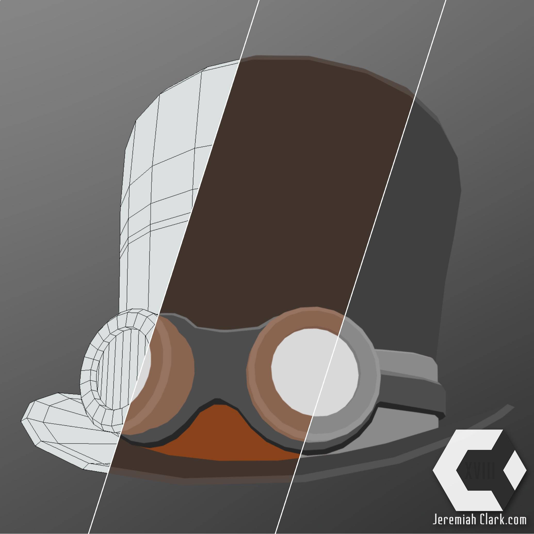 Material breakdown: Wireframe, Base Color (albedo), Specular.  Modeled in Modo.