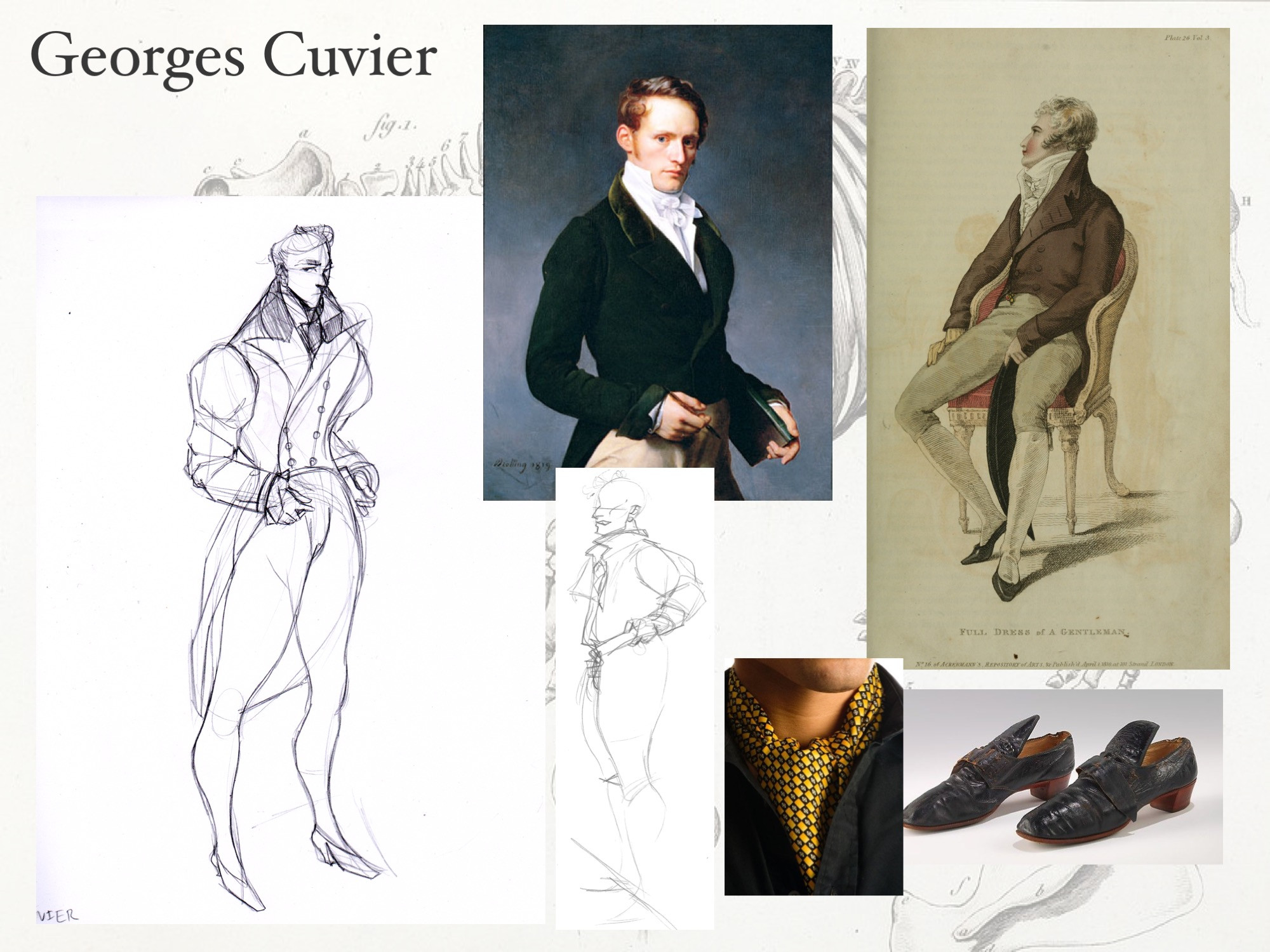 Georges Cuvier: reference. I took paintings of the actual Cuvier (a French archeologist), and exagerrated the proportion of the shoulders and the lapel. This makes him larger than life and intimiating, just like Sara might imagine him to be.