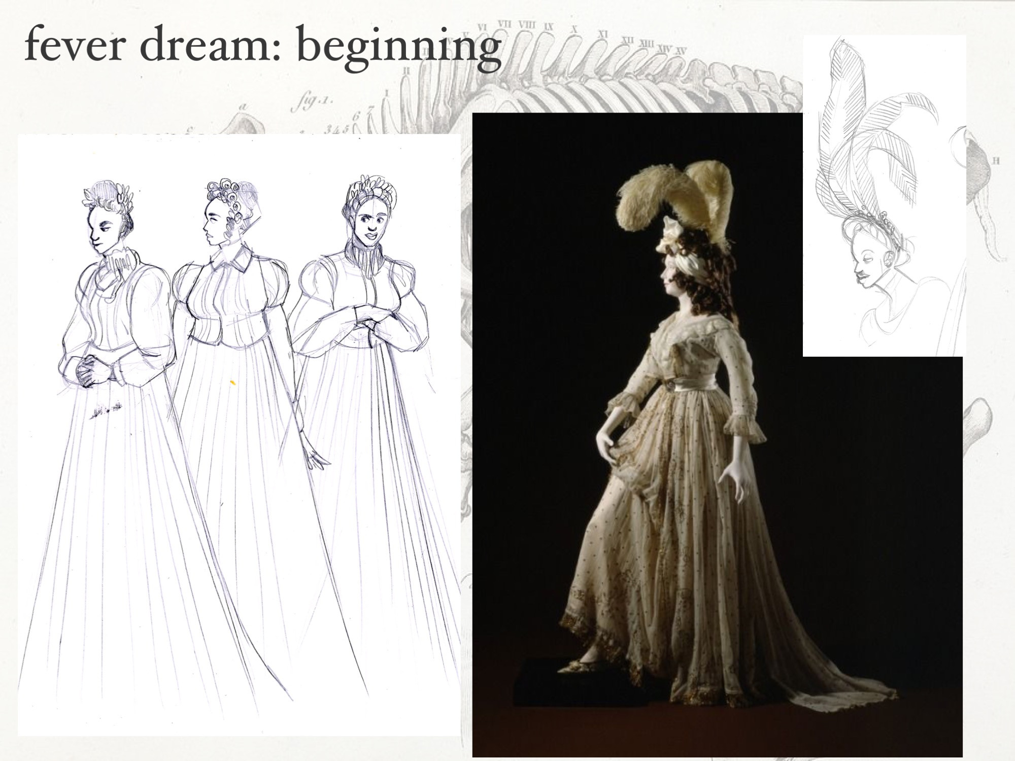 Dream Dancer: reference. 1810s ballgowns, ghostly chiffon fabric and feathers. All built for movement and disorientation on stage.