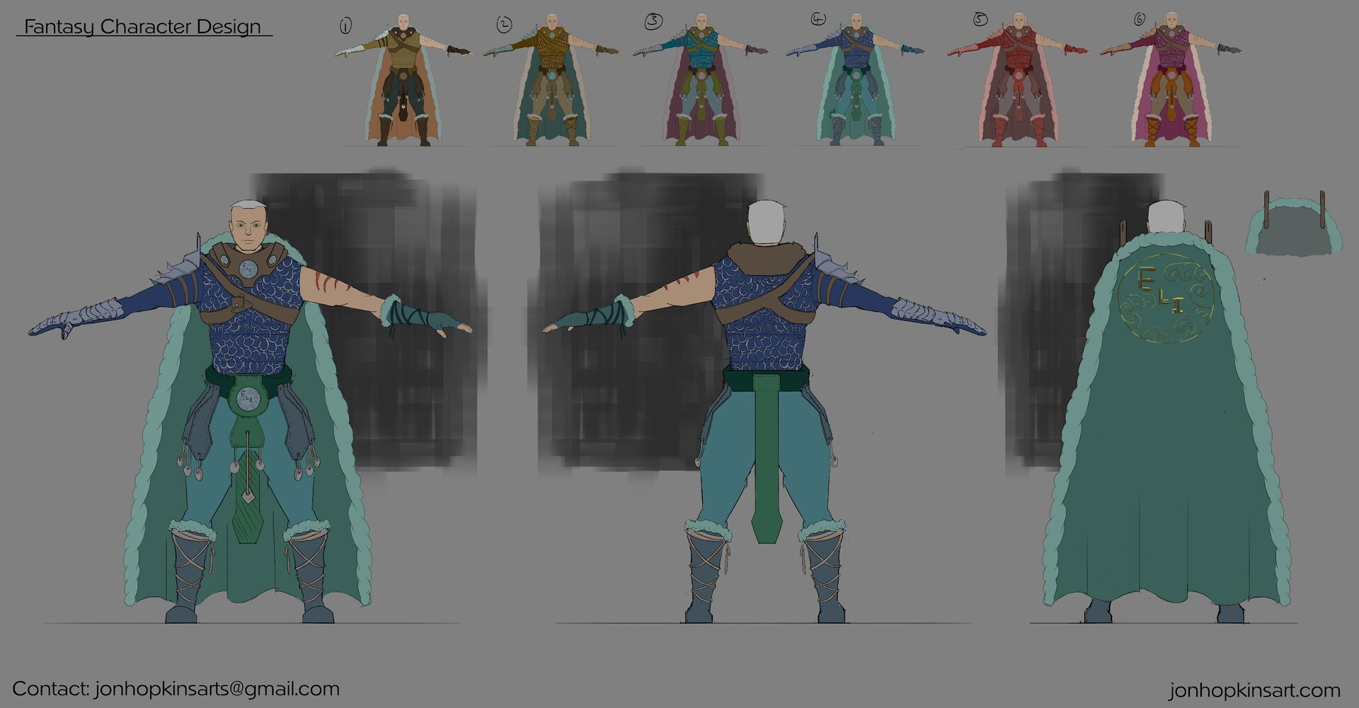 Fantasy Character concept design with colour variations.