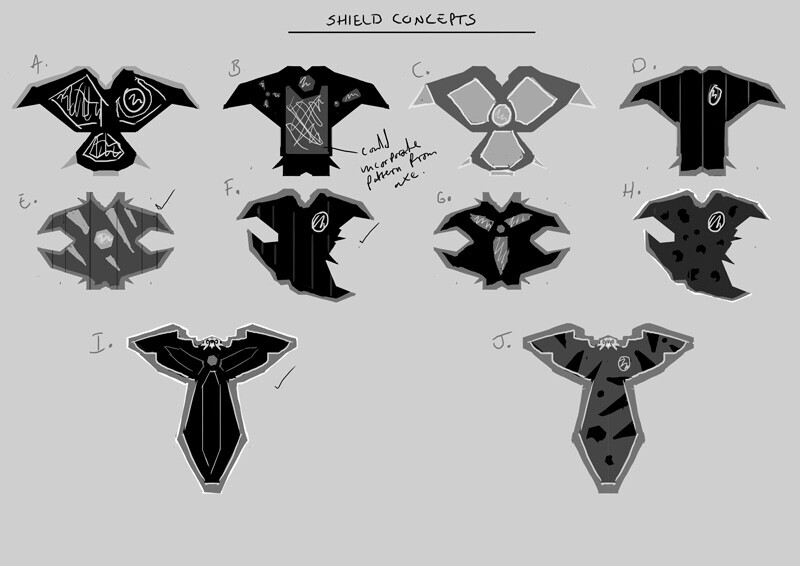 Shield concept design thumbnail exploration